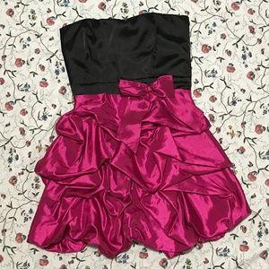 Black & Pink Strapless Prom Dress